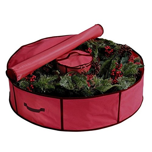 36-inch Red Center Storage Holiday Wreath Bag