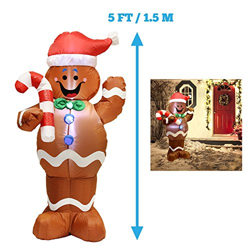 5ft Self-Inflatable Gingerbread Man with Candy Canes Perfect for Waving Blow Up Yard Decoration, Indoor Outdoor Yard Garden Christmas Decoration and Christmas Party Favor Decoration by Joiedomi