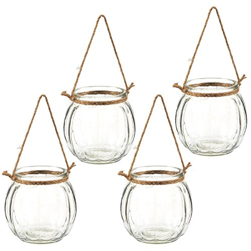 Juvale Hanging Planters – Set of 4 Decorative Hanging Planters, Plant Pots Ideal Air Plants, Succulents, Tea Light Candles, Wall Hanging Accessories Home Office Decor, 4.5 x 4.5 x 4.5 inches