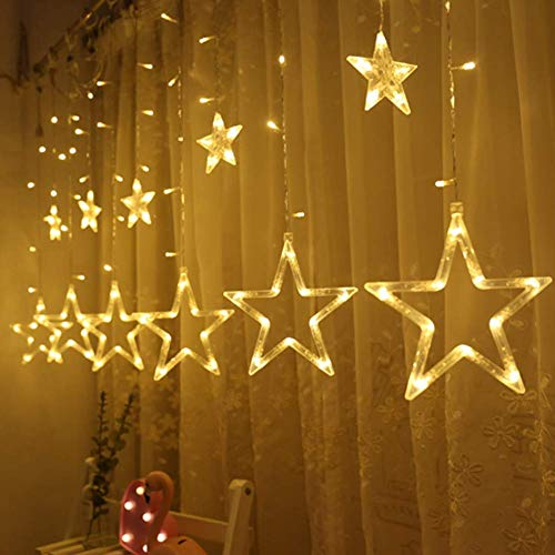 Twinkle Star 12 Stars 138 LED Curtain String Lights, Window Curtain Lights with 8 Flashing Modes Decoration for Christmas, Wedding, Party, Home Decorations, Warm White