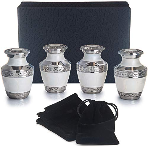 Adera Dreams Small Urns for Human Ashes Keepsake – Set of 4 in Pearl White – Mini Cremation Urns – Memorial Ashes Urn with Case, Velvet Pouch and Funnel – Miniature Burial Funeral Urns for Sharing Ash