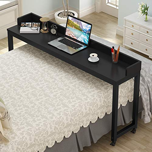 """Overbed Table with Wheels, Tribesigns 70.8"""" Queen Size Mobile Desk with Heavy-Duty Metal Legs, Works as Pub Table, Counter Height Dining Table or Computer Table Desk, Super Sturdy and Stable"""