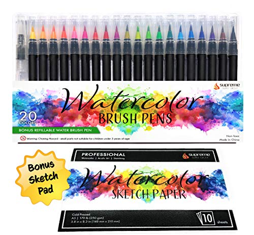 Watercolor Brush Pens Set, 20 Color Markers + Bonus Sketch Pad & Refillable Water Pen, Soft Tip for Art, Drawing, Coloring Page, Calligraphy, Sketching and Paint Effects, Non-Toxic, Water Based